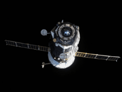 Russian  Progress MS-10 shakes hands with International Space Station