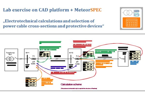 Series of exercises - Electrotechnical calculations and selection of power cable cross-sections and protective devices