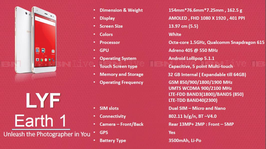 reliance-Lyf-earth-1-specifications