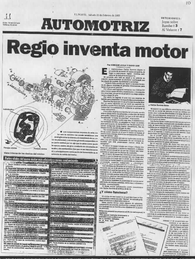 Gearturbine El Norte Newspaper Automotriz El Norte saturday 20 Feb 1993. Monterrey MX