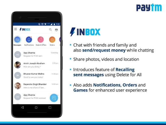 Paytm Adds Messaging Feature Inbox To Its Android App Competes With Whatsapp In Its Home Turf Crazyengineers